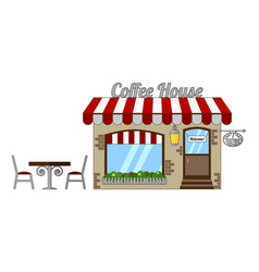classic cozy coffee house with a red and white vector image