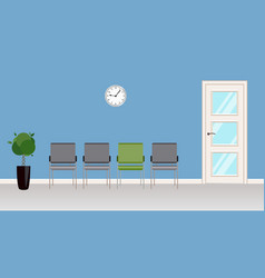 clinic reception area with gray chairs in front of vector image