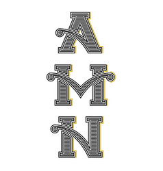 Collection letters a m n vintage monograms set vector