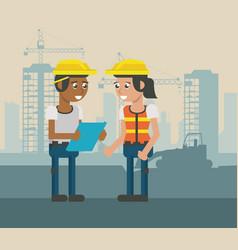 Construcion workers geometric cartoons vector