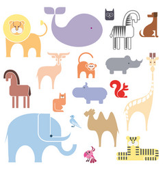 cute animal icon set isolated on a white vector image