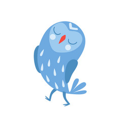 cute cartoon blue owlet bird character standing vector image