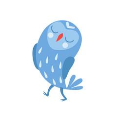 Cute cartoon blue owlet bird character standing vector