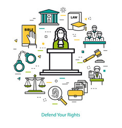 Defend your rights - round concept vector