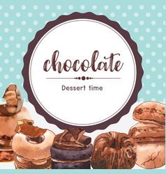 Dessert frame design with chocolate cake cupcake vector