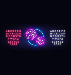 Dice neon sign design template dice game vector