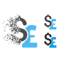 Disappearing dot halftone dollar and pound icon vector