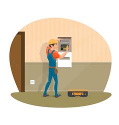 electircian at work flat design vector image