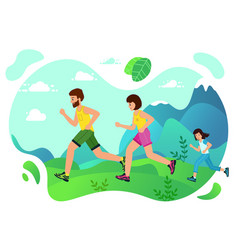 Family jogging in park concept happy family vector