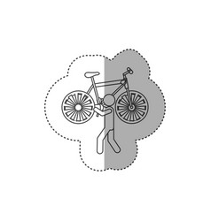 Figure person with bicycle in his hands and vector