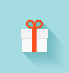 Flat gift box icon vector image