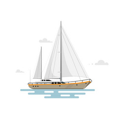 flat yacht vector image