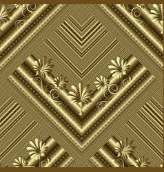 floral gold striped 3d seamless pattern textured vector image