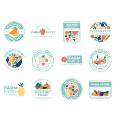fresh fruits and vegetables badges organic food vector image