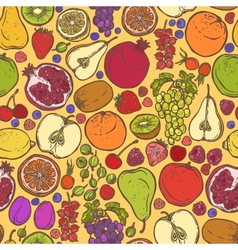 Fruits and berries sketch seamless pattern vector image