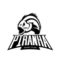 furious piranha sport mono logo concept vector image