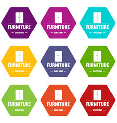 furniture cabinet icons set 9 vector image