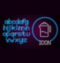 Glowing neon line french press icon isolated vector