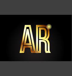 Gold alphabet letter ar a r logo combination icon vector