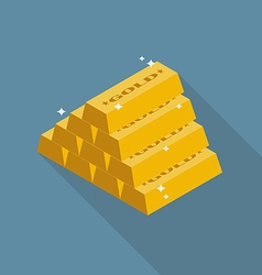 Gold ingots flat icon vector