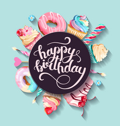 Greeting birthday card with cupcakes and cakes vector