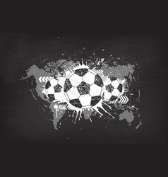 grunge abstract football background with world vector image