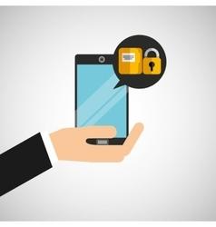 hand holds smartphone padlock folder file vector image