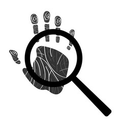 handprint with magnifying glass icon vector image