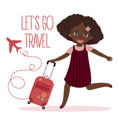 happy young girl with suitcase lets go travel vector image