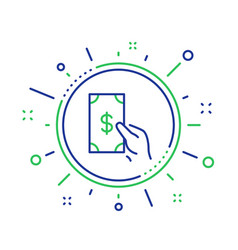Hold cash money line icon dollar currency vector