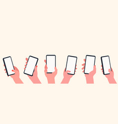 holding phone in hands set hands with blank vector image