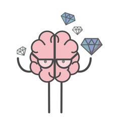Icon adorable kawaii brain with a lot diamond vector