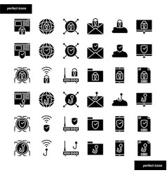 Internet security solid icons set vector
