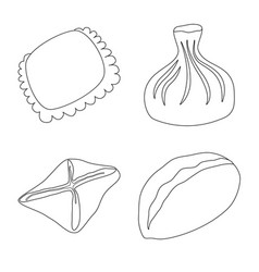Isolated object food and dish icon collection vector