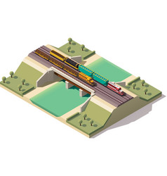 Isometric train bridge vector