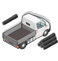 Isometric White Van and some pipes vector