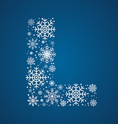 Letter L font frosty snowflakes vector