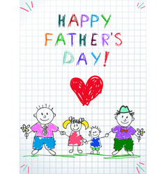 Lgbt family happy father day kids drawing two men vector