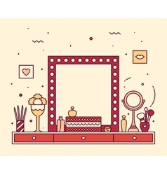 Makeup table vanity linear mirror dressing vector