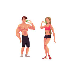 man and woman bodybuilders weightlifters drinking vector image