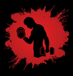 man exercise with dumbbell graphic vector image