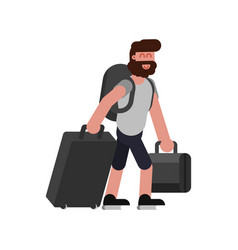 man with traveling bags vector image