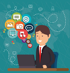 man working with social media icons vector image