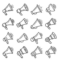 megaphone icon set outline style vector image