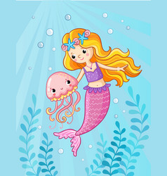 mermaid with a jellyfish under water vector image