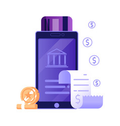 Mobile payment online bill icon in flat design vector