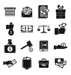 Money bribery icons set simple style vector