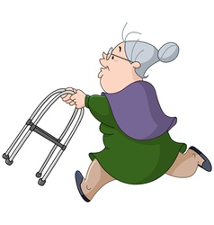 Old woman running with walker vector