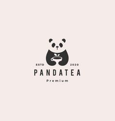 panda tea cup logo hipster vintage retro icon vector image