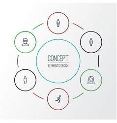 person outline icons set collection of man user vector image